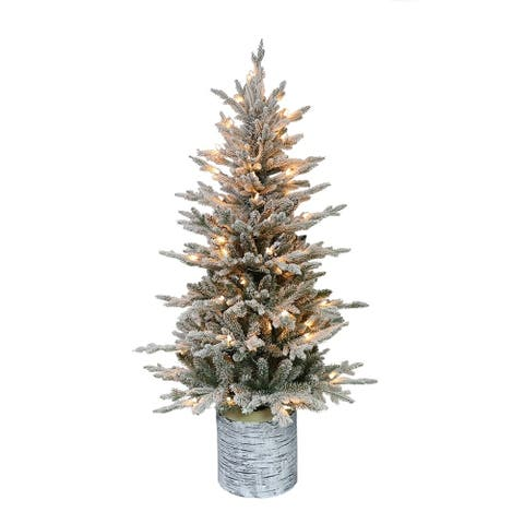 Puleo International 4.5 ' Pre-Lit Potted Flocked Arctic Fir Artificial Christmas Tree with 70 UL Clear Lights