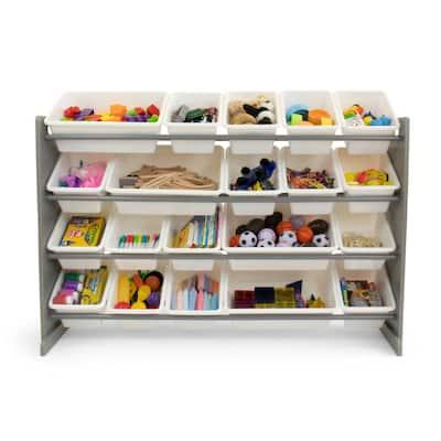 Porch & Den Odino Grey and White Extra Large Storage Organizer with 20 Plastic Bins