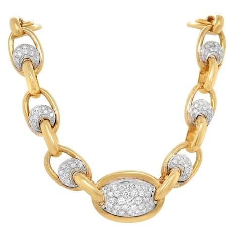 18K Yellow Gold Diamond Vintage Link Necklace (H-I,VS1-VS2)