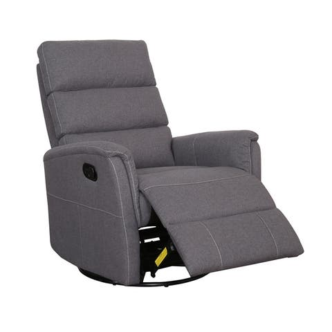 AC Pacific Tyler Contemporary Steel/Fabric Upholstered Swivel Gliding Recliner