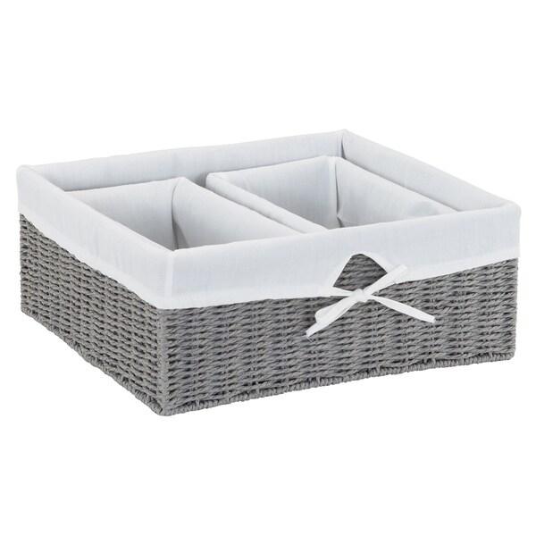 Paper Rope Utility Basket, 3pc Set, Grey. L- 6H x 16W x 14.5D, S- 5.5H x 12W x 6.5D