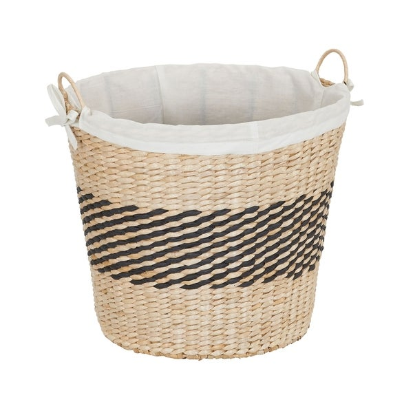 Handwoven Cattail and Paper Black Band Basket w/ Liner, 15.5H x 16.5W x 15.5D