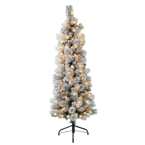 Puleo International 4.5 ' Pre-Lit Flocked Portland Pine Pencil Artificial Christmas Tree with 100 UL- Listed Clear Lights