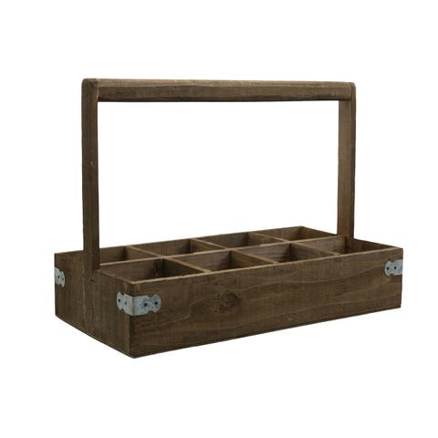 UTC61003: Wood Rectangle Caddy with Top Handle and 8 Slots Natural Finish Brown