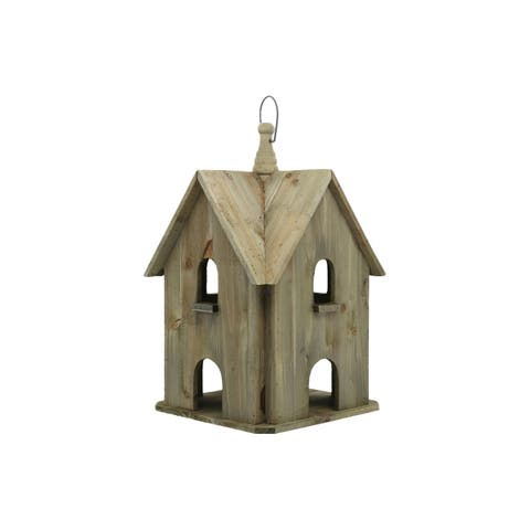 UTC35152: Wood Square Bird House with Windows Natural Finish Brown