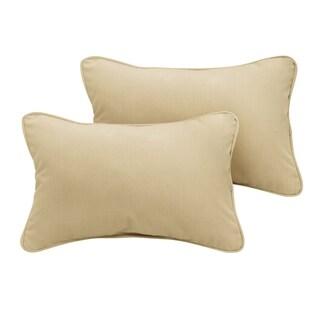 Sunbrella Sand Beige Indoor/Outdoor Lumbar Pillow, Set of 2