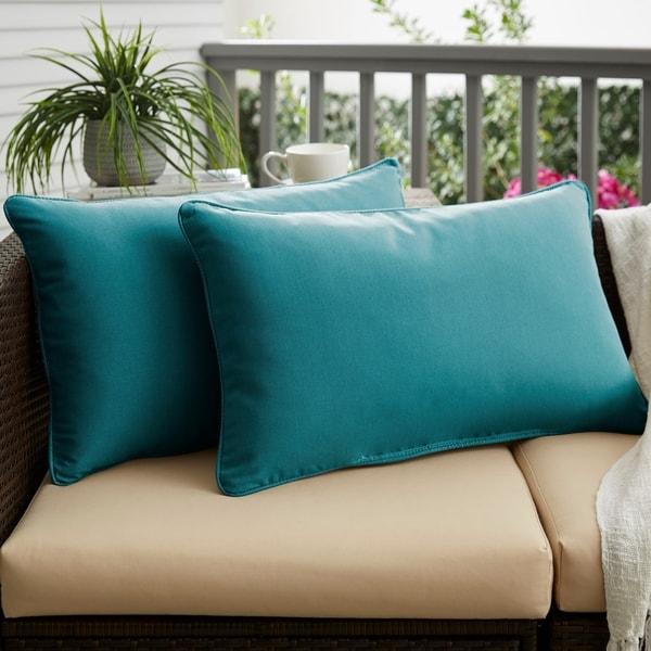 Sunbrella Peacock Blue Indoor/Outdoor Lumbar Pillow, Set of 2