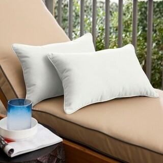 Sunbrella Canvas Ivory Indoor/Outdoor Lumbar Pillow, Set of 2