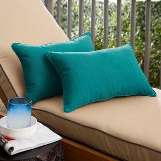 Sunbrella Textured Sea Blue Indoor/Outdoor Lumbar Pillow, Set of 2