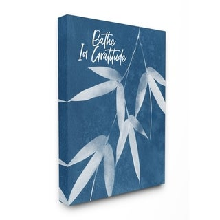 The Stupell Home Decor Bathe In Gratitude Indigo Plant Botanical Cyanotype Look, 11 x 14, Proudly Made in USA - Multi-Color