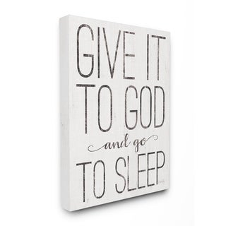 The Stupell Home Decor Give It To God and Go To Sleep Black and White Wood Look Sign, 11 x 14, Proudly Made in USA - Multi-Color