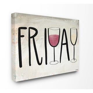 The Stupell Home Decor Friday  Red and White Wine Glasses Weekend Typography, 11 x 14, Proudly Made in USA - Multi-Color