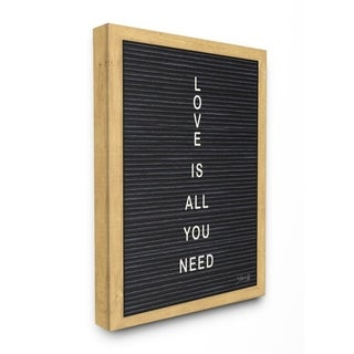 The Stupell Home Decor Love is All You Need Black and White Framed Letter Board Look, 11 x 14, Proudly Made in USA - Multi-Color