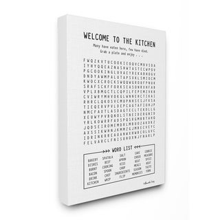 The Stupell Home Decor Black and White Kitchen Crossword Puzzle Sign, 11 x 14, Proudly Made in USA - Multi-Color