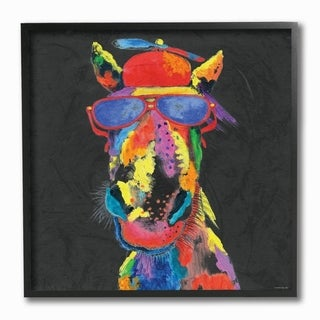 The Stupell Home Decor  Playful Horse with Sunglasses Rainbow Textural Chalk  Drawing, 12 x 12, Proudly Made in USA