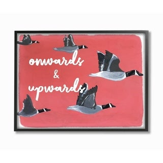 The Stupell Home Decor Onwards and Upwards Red Hand Drawn Geese Flying Illustration, 11 x 14, Proudly Made in USA - Multi-Color