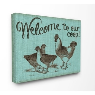The Stupell Home Decor Welcome to Our Coop with Chickens Blue Rustic Sign, 11 x 14, Proudly Made in USA - Multi-Color