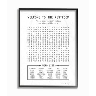 The Stupell Home Decor Black and White Restroom Crossword Puzzle Sign, 11 x 14, Proudly Made in USA - Multi-Color