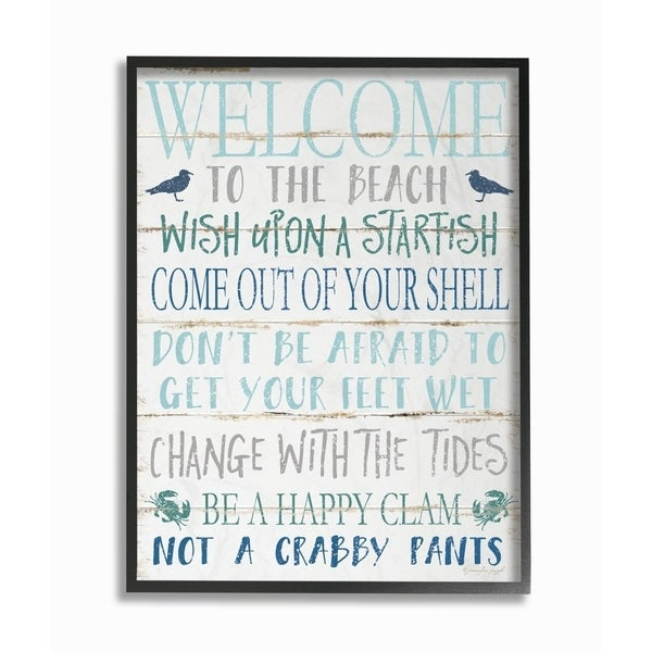 The Stupell Home Decor Welcome to the Beach Blue Aqua and White Planked Look Sign, 11 x 14, Proudly Made in USA - Multi-Color