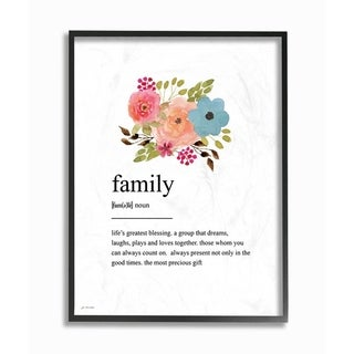 The Stupell Home Decor Pink Peach and Blue Painted Floral Simple Family Definition, 11 x 14, Proudly Made in USA - Multi-Color