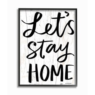 The Stupell Home Decor Black and White  Script Lets Stay Home Wood Look Sign, 11 x 14, Proudly Made in USA - Multi-Color