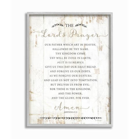 The Stupell Home Decor The Lords Prayer Our Father Rustic Distressed White Wood Look, 11 x 14, Proudly Made in USA - Multi-Color