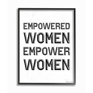 The Stupell Home Decor Empowered Women Empower Women Black and White Block Typography, 11 x 14, Proudly Made in USA