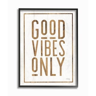 The Stupell Home Decor Good Vibes Only Rustic White and Exposed Wood Look Sign, 11 x 14, Proudly Made in USA - Multi-Color