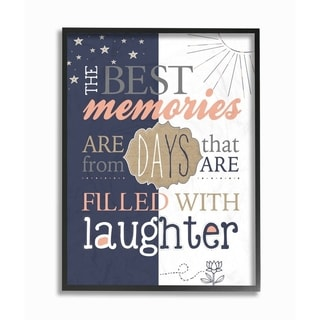 The Stupell Home Decor The Best Memories and Laughter Blue and Peach Typography, 11 x 14, Proudly Made in USA - Multi-Color