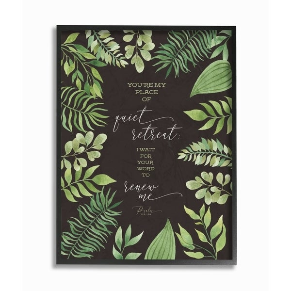 The Stupell Home Decor You're My Place of Quite Retreat Green Leaf Psalm Quote Typography, 11 x 14, Proudly Made in USA