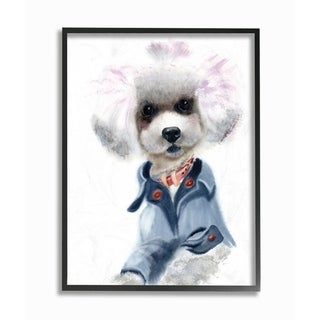 The Stupell Home Decor Watercolor Poodle In a Blue Jacket Portrait, 11 x 14, Proudly Made in USA - Multi-Color