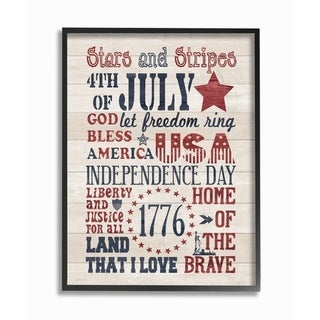 The Stupell Home Decor Stars and Stripes USA Stenciled Typography Rustic Planked Look Sign, 11 x 14, Proudly Made in USA