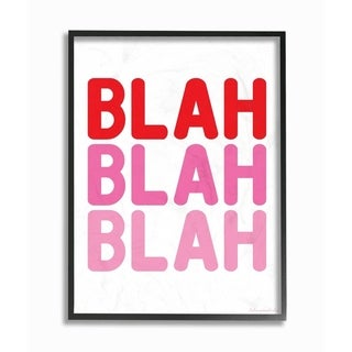The Stupell Home Decor Blah Blah Blah Punchy Ombre Pink Block Letter Typography, 11 x 14, Proudly Made in USA - Multi-Color