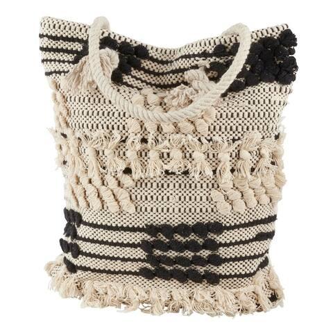 Saro Lifestyle Ivory/Black Cotton Tote Bag with Moroccan Design