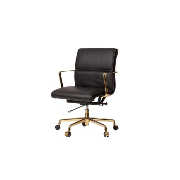 Golden Black Mid-Century Modern Office Chair with Gold Base