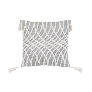 Corded Embroidered Optical Illusion Decorative Pillow - Grey