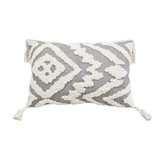 Corded Morocco Embroidered Pillow - Grey