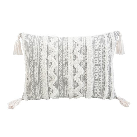Corded Apache Embroidered Decorative Throw Pillow - Rectangle/Grey