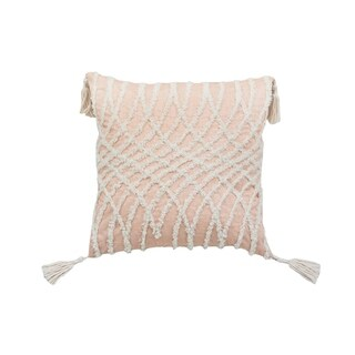 Corded Embroidered Optical Illusion Decorative Pillow - Beige