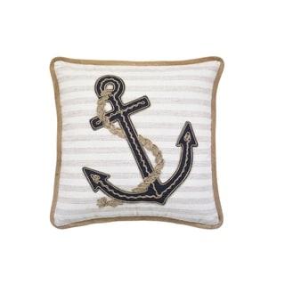 Beach Life Anchor Throw Pillow with Burlap Cording