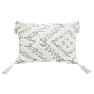 Corded Morocco Embroidered Pillow - Rectangle/Grey
