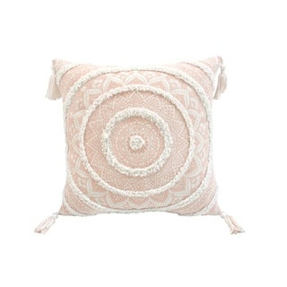 Corded Morocco Embroidered Throw Pillow - Peach