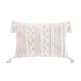 Corded Apache Embroidered Decorative Throw Pillow - Beige