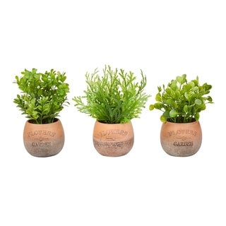 "8"" Tall Artificial Greenery Arrangement- Round Set of 3, Decorative Faux Indoor Ornamental Potted Foliage by Pure Garden"