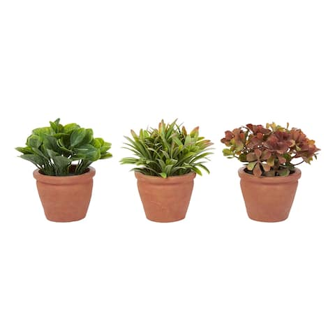 """6"""" Tall Artificial Greenery Arrangement- Round Set of 3, Decorative Faux Indoor Ornamental Potted Foliage by Pure Garden"""