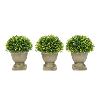 "Link to 7.5"" Podocarpus Grass Artificial Plant in Concrete Pot- Round Set of 3, Ornamental Potted Topiary by Pure Garden Similar Items in Decorative Accessories"