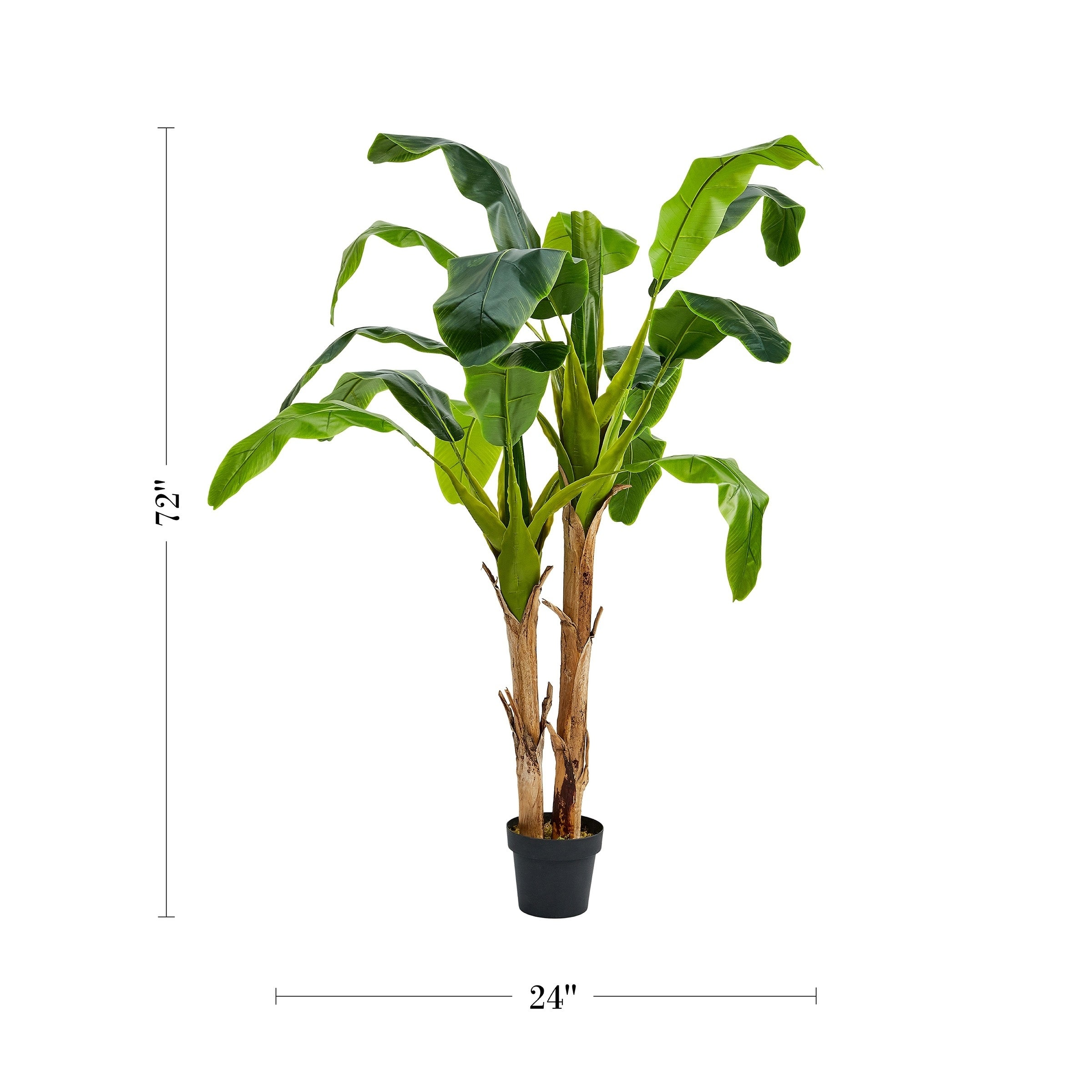 Pure Garden 72 Inch Artificial Banana Leaf Tree Double Trunk Style Faux Plant In Sturdy Pot Realistic Indoor Potted Topiary On Sale Overstock 27741489