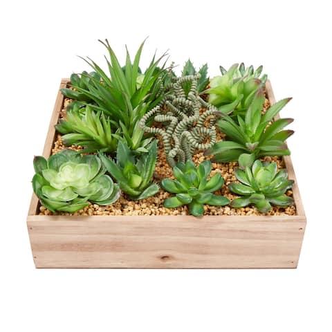 Pure Garden Assorted Faux Succulents Lifelike Arrangement with 10-inch Decorative Wooden Box