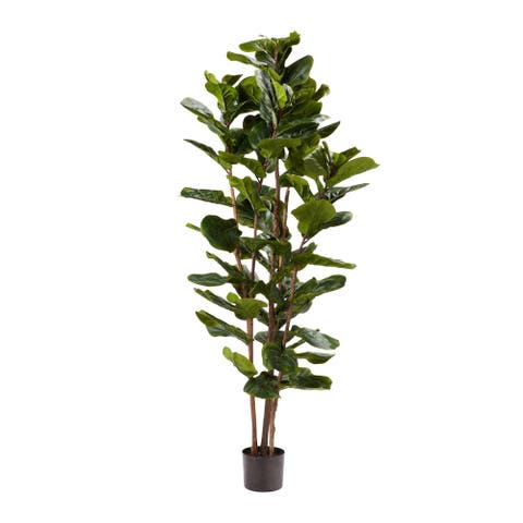 Pure Garden 72-inch Artificial Fiddle Leaf Fig Tree Faux Plant in Pot Natural Feel Leaves Realistic Indoor Potted Topiary