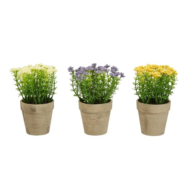 Pure Garden 6.25-inch Tall 3-piece Assorted Faux Flower Floral Arrangement in Terracotta-colored Vase